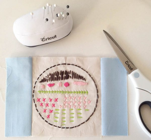 Boho Stitch Sampler Pillow with Cricut Maker Tutorial by Underground Crafter | First panels sewn to pillow top