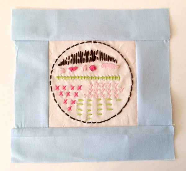 Boho Stitch Sampler Pillow with Cricut Maker Tutorial by Underground Crafter | Pieced front of pillow