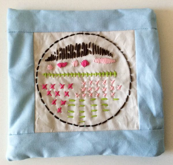 Boho Stitch Sampler Pillow with Cricut Maker Tutorial by Underground Crafter | Unstuffed pillow turned right side out