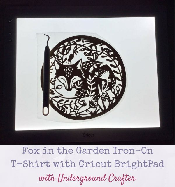 Fox in the Garden Iron-On T-Shirt with Cricut BrightPad via Underground Crafter