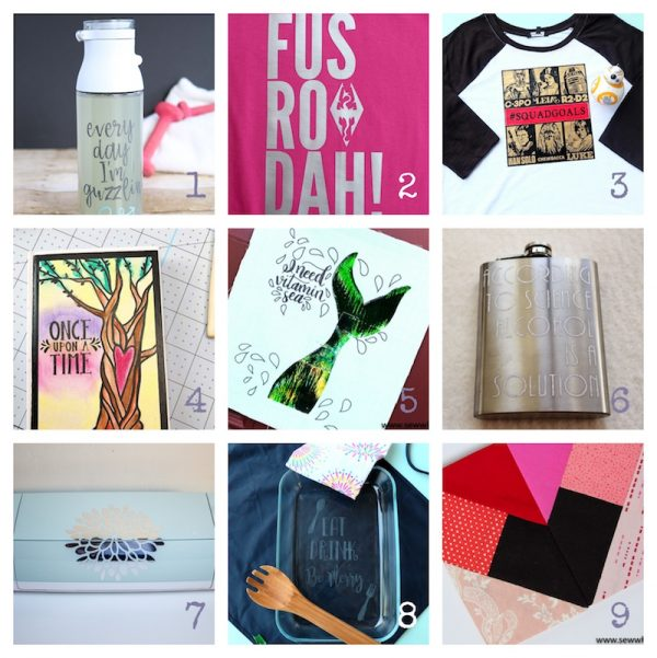 Cricut Basics: Get To Know the Cricut BrightPad with 9 BrightPad Projects via Underground Crafter | Collage of 9 BrightPad projects from your favorite bloggers