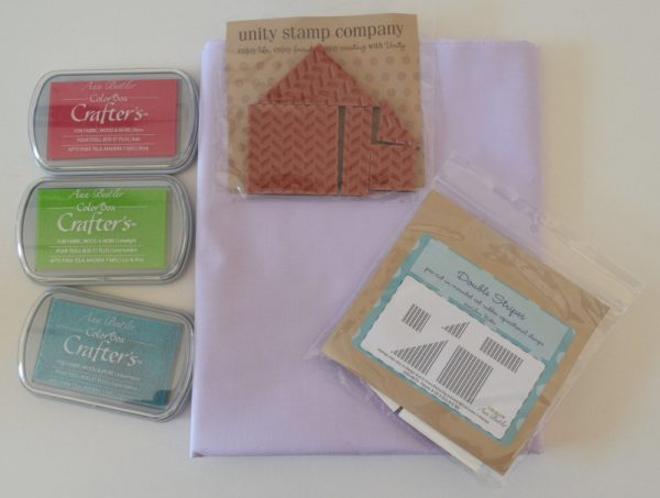 Simple Stamped Napkins, free sewing pattern with Ann Butler ColorBox Crafter's ink and Unity Stamp Company stamps by Underground Crafter
