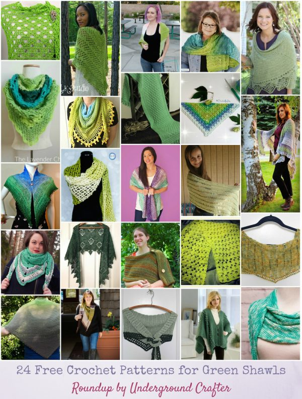 24 Free Crochet Patterns for Green Shawls, roundup curated by via Underground Crafter