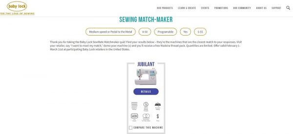 Baby Lock Jubilant review by Underground Crafter - Whether you're looking for a portable sewing machine to take to classes or craft nights, or a small but full-featured machine that doesn't take up too much space at home, or a sturdy, yet affordable sewing machine, you'll find something to love about the Baby Lock Jubilant. - Match-Maker screen shot
