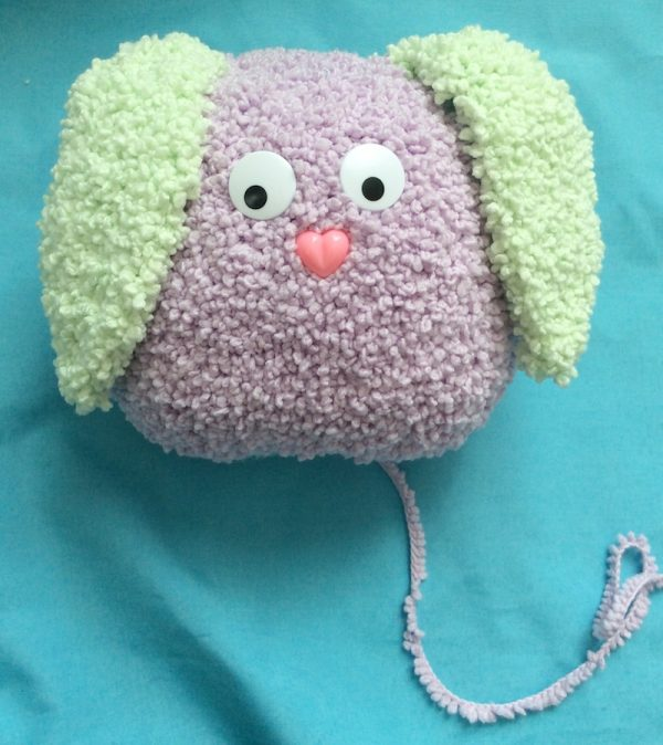 Bouncy Bouclé Bunny, free crochet pattern by Underground Crafter in Lion Brand Baby Soft Bouclé yarn, stuffed with Fairfield Poly-Fil Crafter's Choice Dry Polyester Packing Fiber Fill - assembly #1