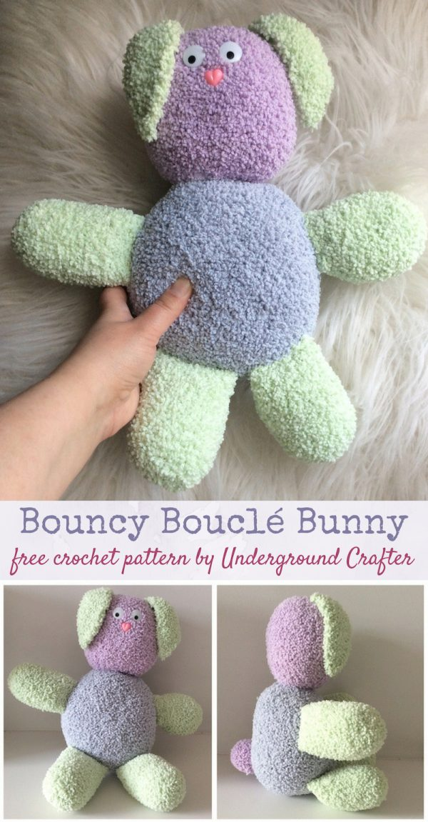 Bouncy Bouclé Bunny, free crochet pattern by Underground Crafter in Lion Brand Baby Soft Bouclé yarn, stuffed with Fairfield Poly-Fil Crafter's Choice Dry Polyester Packing Fiber Fill