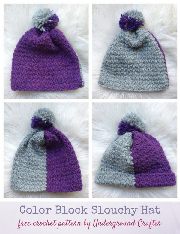 Color Block Slouchy Hat, free crochet pattern in Yarnspirations Patons Alpaca Blend yarn by Underground Crafter | collage of 4 flat lay photos of hat