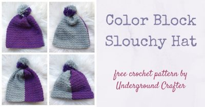 Color Block Slouchy Hat, free crochet pattern in Yarnspirations Patons Alpaca Blend yarn by Underground Crafter