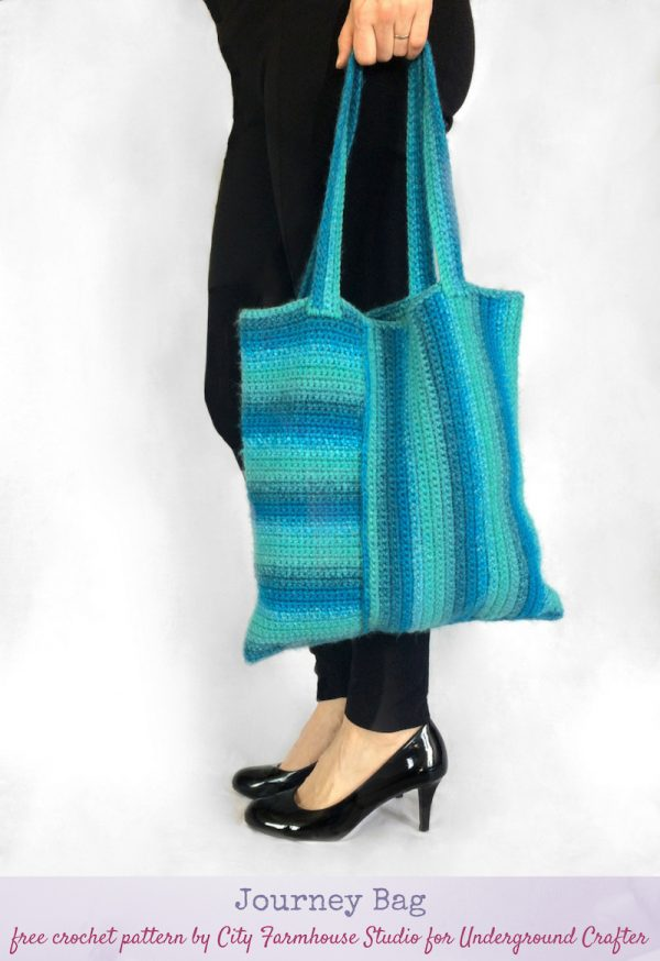 Journey Bag, free crochet pattern in Red Heart Colorscape by City Farmhouse Studio for Underground Crafter