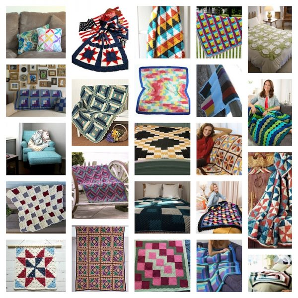 31 Free Quilt-Inspired Crochet and Knitting Patterns via Underground Crafter - crochet pattern collage