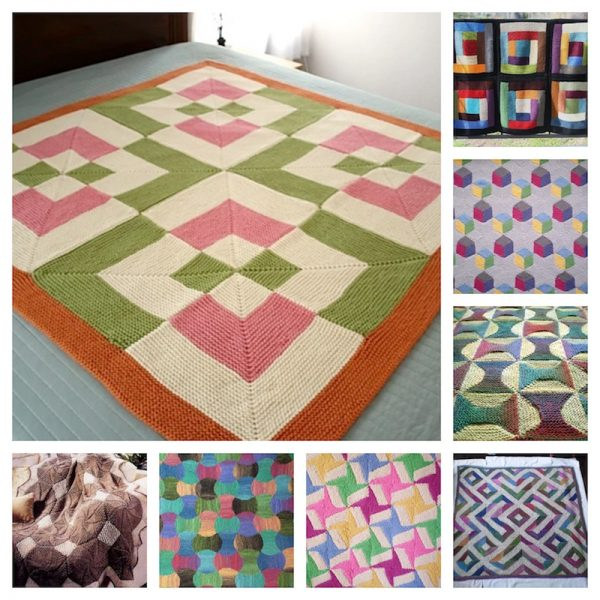 31 Free Quilt-Inspired Crochet and Knitting Patterns via Underground Crafter - knitting pattern collage
