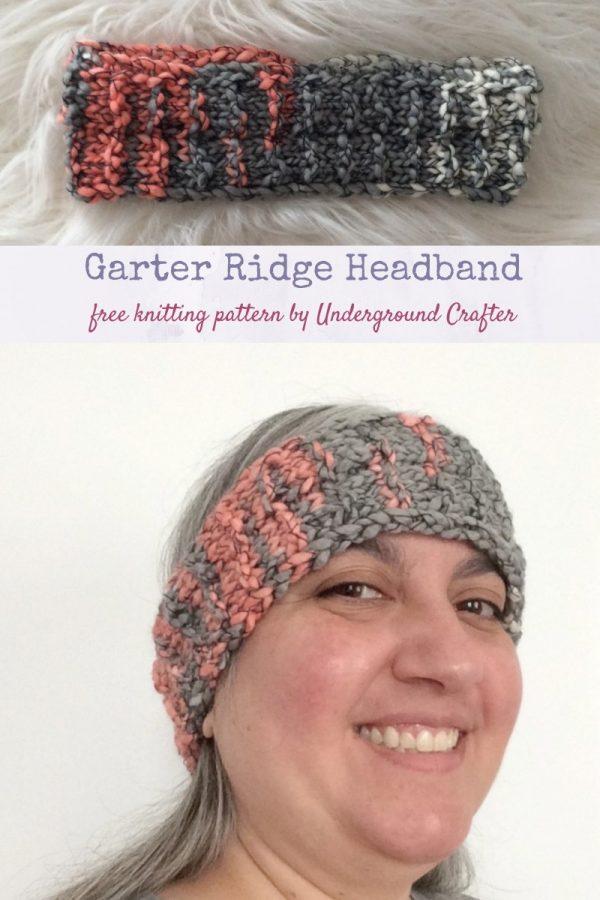 Garter Ridge Headband, free knitting pattern in Lion Brand Stitchbird yarn by Underground Crafter
