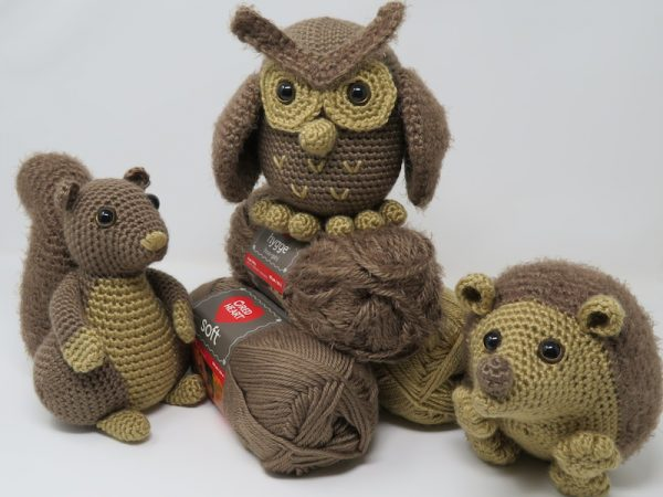 Hygge Squirrel, free crochet amigurumi pattern by Hooked by Kati for Underground Crafter - Hygge Squirrel, Hygge Owl, and Hygge Hedgehog with yarn