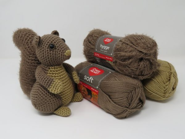 Hygge Squirrel, free crochet amigurumi pattern by Hooked by Kati for Underground Crafter - Squirrel with Red Heart Soft and Hygge yarns
