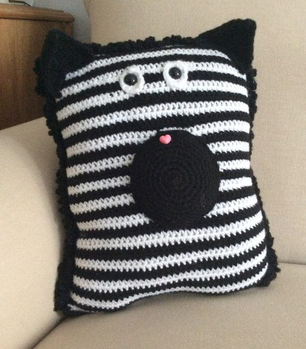 Zebra Pocket Pillow, free crochet pattern in Red Heart Super Saver stuffed with • Fairfield Poly-Fil Crafter's Choice Dry Polyester Fiber Fill by Underground Crafter