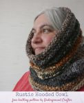 Free knitting pattern: Rustic Hooded Cowl in Lion Brand Mandala Thick & Quick yarn by Underground Crafter | woman wearing textured, hooded cowl looking to the left