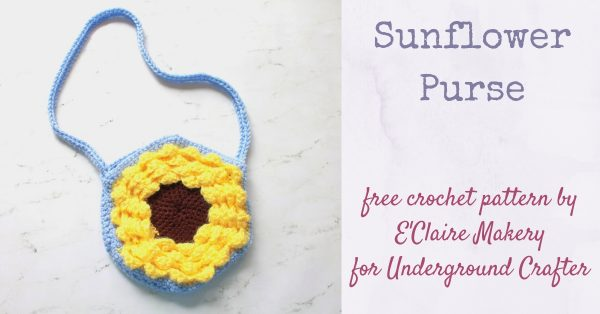 Free crochet pattern: Sunflower Purse by E'Claire Makery for Underground Crafter | hexagonal sunflower purse on marble background