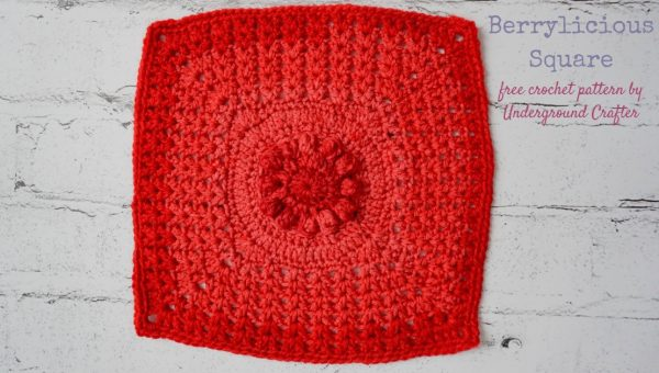 Free crochet pattern: Berrylicious Square, 12 Inch (30.5 cm) granny square in Lion Brand Crayola Cake yarn by Underground Crafter | Textured crochet square in red semi-solid yarn on white faux brick background