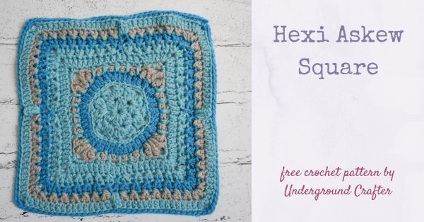 Hexi Askew Square, free crochet pattern in Red Heart With Love by Underground Crafter for 2019 Moogly Crochet Along