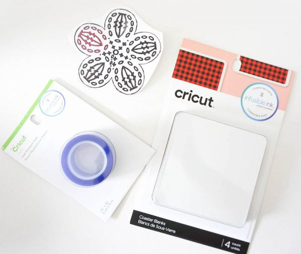 How To Make Granny Square Coasters with Crochet Coloring Pages and Cricut Infusible Ink by Underground Crafter - heat transfer tape, coaster blanks, colored crochet motif