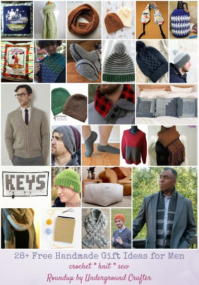 28+ Free Handmade Gift Ideas for Men via Underground Crafter - collage of crochet, knitting, and sewing patterns