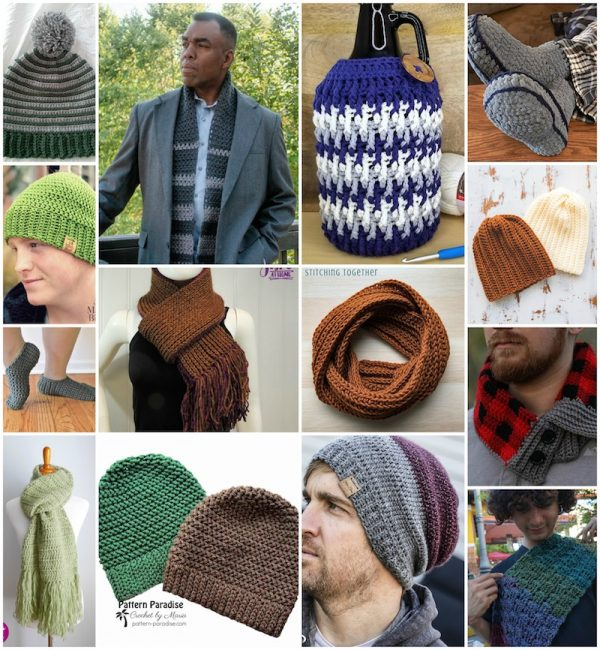 28+ Free Handmade Gift Ideas for Men via Underground Crafter - collage of 14 crochet patterns