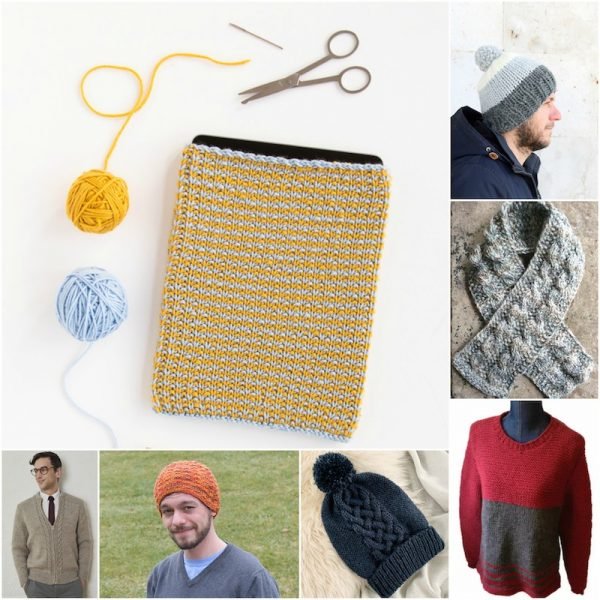 28+ Free Handmade Gift Ideas for Men via Underground Crafter - collage of 7 knitting patterns