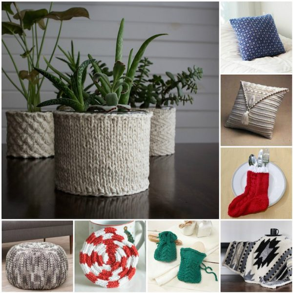 33+ Free Handmade Gift Ideas for Home via Underground Crafter - collage of knitting patterns