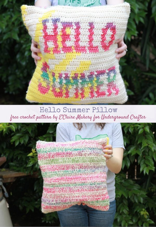 Hello Summer Pillow, free tapestry crochet pattern by E'Claire Makery for Underground Crafter