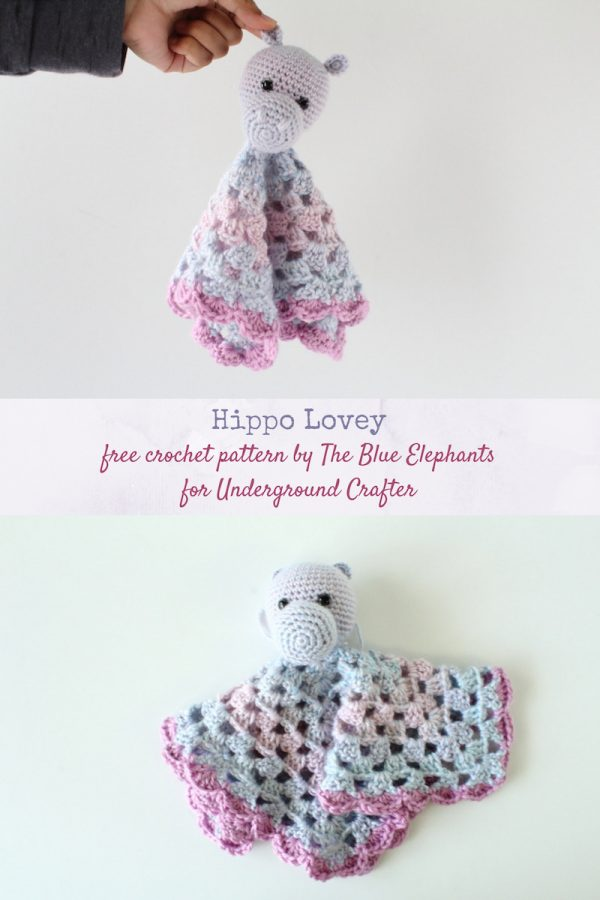 Free crochet pattern: Hippo Lovey by The Blue Elephants for Underground Crafter