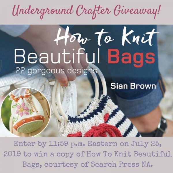 How To Knit Beautiful Bags by Sian Brown Book Review with Flower Basket bag pattern via Underground Crafter - giveaway