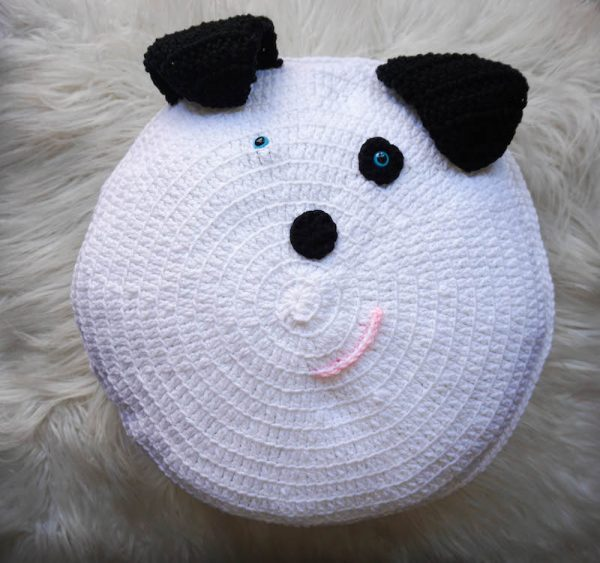 Spot Dog Pillow Pal, free crochet pattern by Underground Crafter - crochet dog on faux fur background