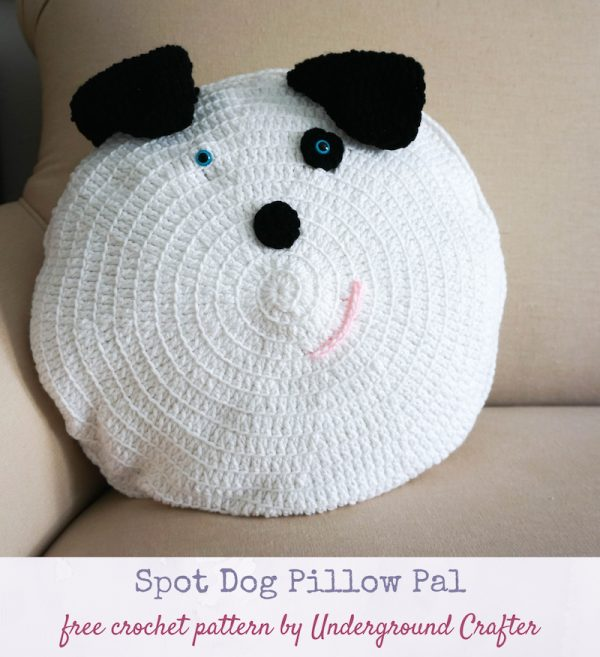 Spot Dog Pillow Pal, free crochet pattern by Underground Crafter - crochet dog on couch