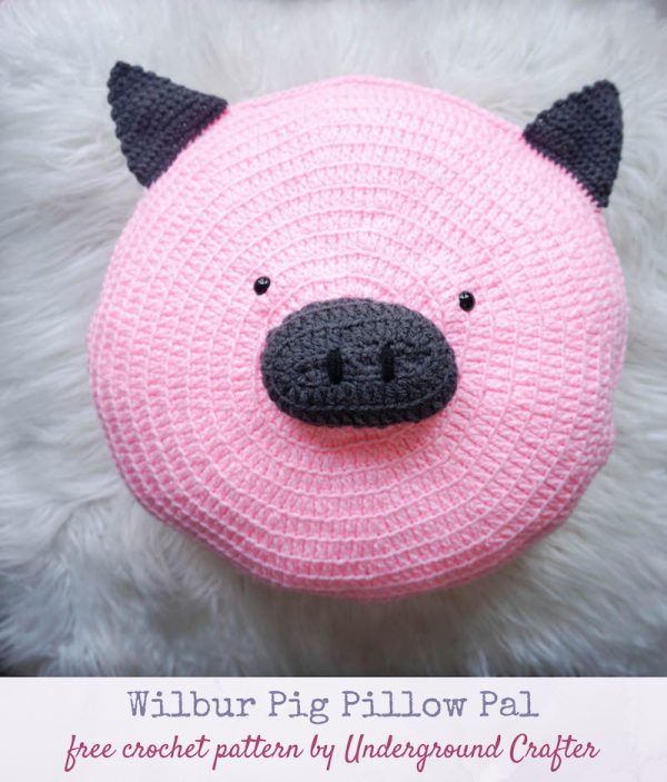 Wilbur Pig Pillow Pal, free crochet pattern by Underground Crafter - crochet pig on faux fur background