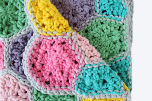 Hexagon Crochet Baby Blanket: Candy Shop Blanket by The Blue