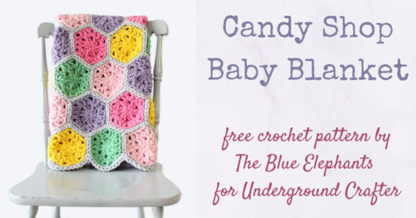 Multi-color crochet hexagon blanket draped over chair - Candy Shop Baby Blanket, free crochet pattern in Paintbox Yarns Wool Mix Super Chunky yarn by The Blue Elephants for Underground Crafter