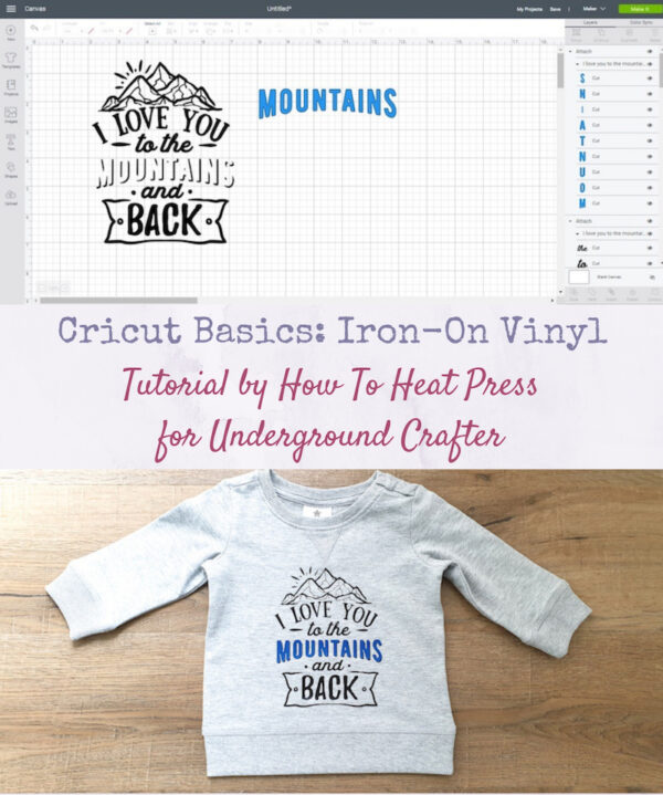 Cricut Basics: Iron-On Vinyl Tutorial by How To Heat Press for Underground Crafter - Cricut Design Space screen capture with SVG image and sweatshirt with iron-on applied