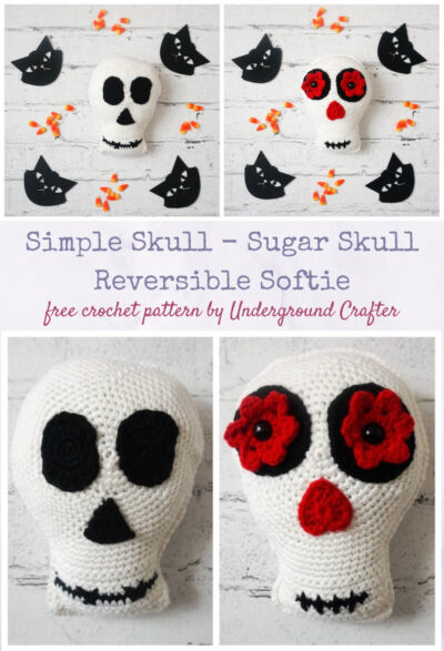 Simple Skull - Sugar Skull Reversible Softie free crochet pattern by Underground Crafter