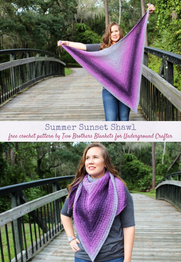 Summer Sunset Shawl, free crochet pattern in Lion Brand Wrap Star yarn by Two Brothers Blankets for Underground Crafter