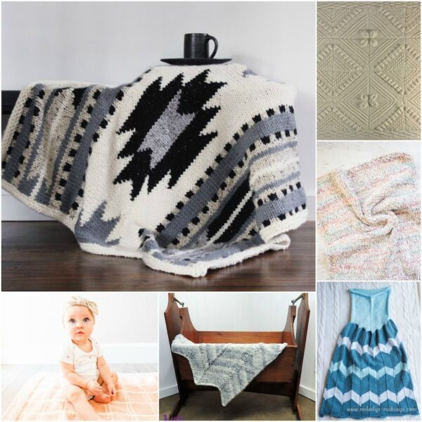 34+ Free Handmade Blanket Projects to Make Great Gifts via Underground Crafter - collage of knitting projects
