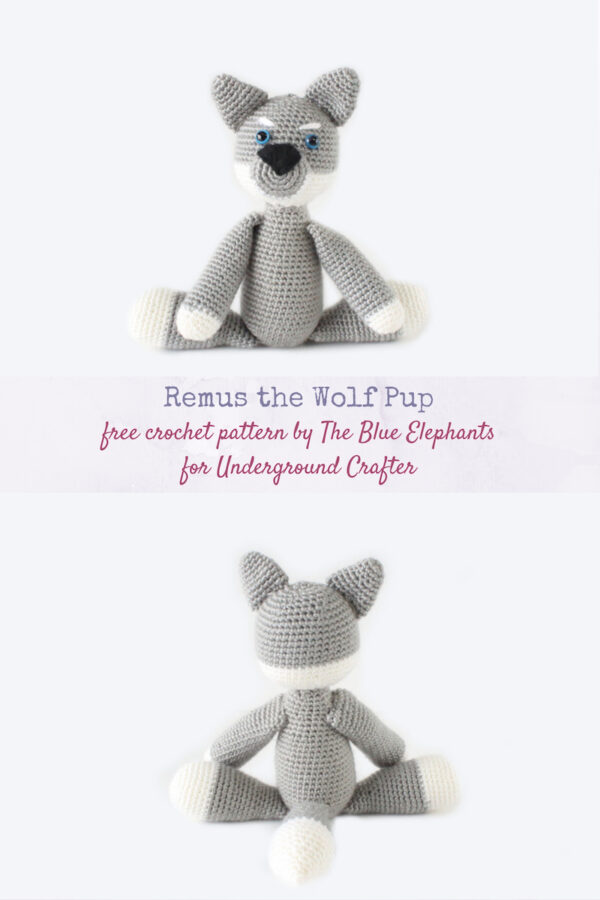 Remus the Wolf Pup free crochet amigurumi plushie by The Blue Elephants for Underground Crafter - crocheted wolf plushie with one rear view and one front facing image