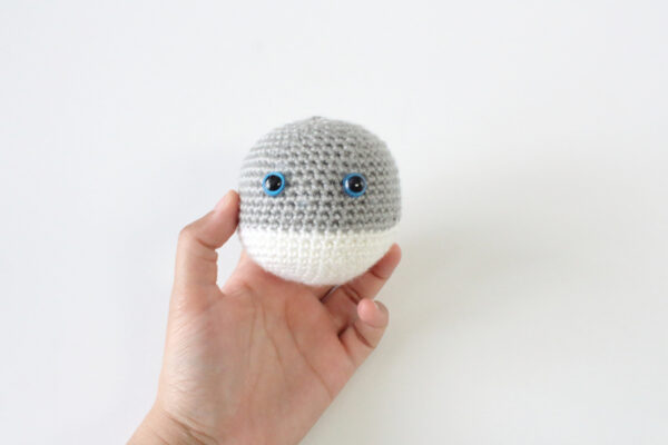 Remus the Wolf Pup free crochet amigurumi plushie by The Blue Elephants for Underground Crafter - crochet amigurumi piece in hand