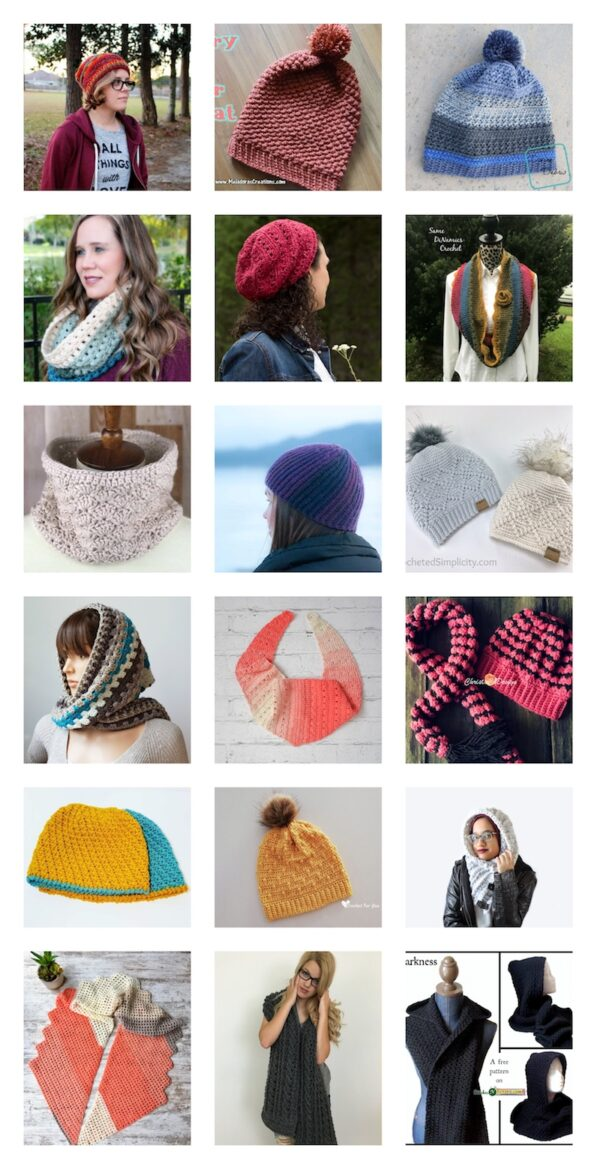 33+ Free Handmade Hat and Scarf Projects to Make Great Gifts via Underground Crafter - collage of crochet projects