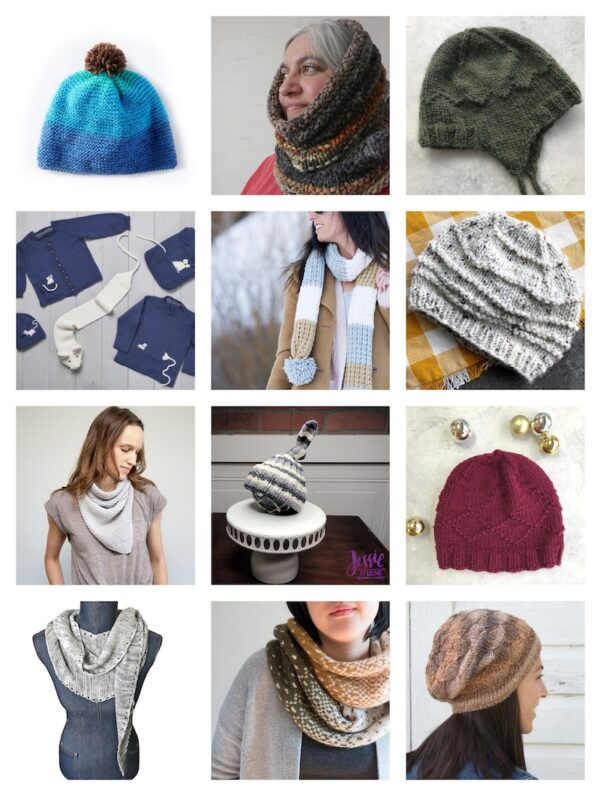 33+ Free Handmade Hat and Scarf Projects to Make Great Gifts via Underground Crafter - collage of knitting projects