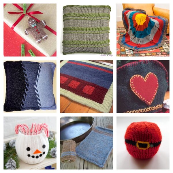 48+ Free Handmade Gift Ideas for the Home via Underground Crafter - 9 free knitting patterns collage
