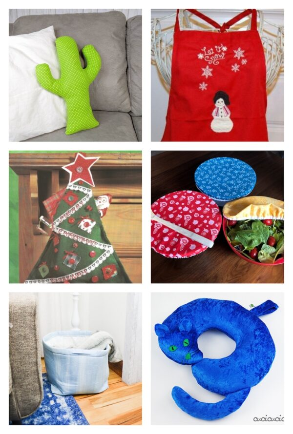 48+ Free Handmade Gift Ideas for the Home via Underground Crafter - 6 free sewing patterns collage