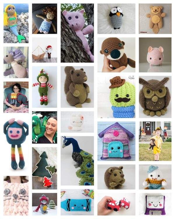 52+ Free Patterns for Softies and Plushies via Underground Crafter - collage of 28 free crochet patterns