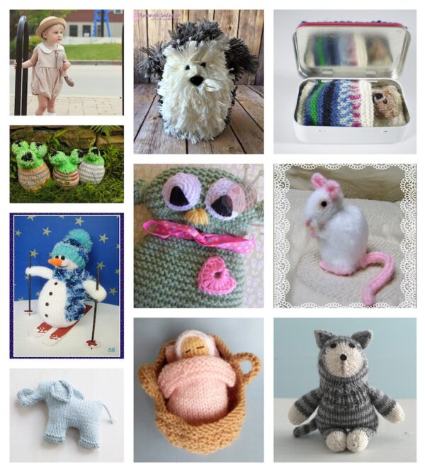 52+ Free Patterns for Softies and Plushies via Underground Crafter - collage of 10 free knitting patterns