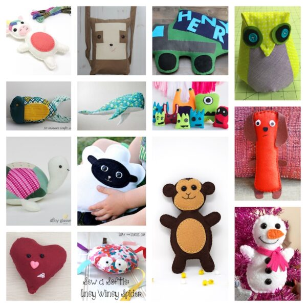 52+ Free Patterns for Softies and Plushies via Underground Crafter - collage of 14 free sewing patterns