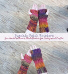 Pumpkin Patch Wristers, free crochet pattern in Red Heart Roll With It Melange yarn with video by Needle Klankers for Underground Crafter